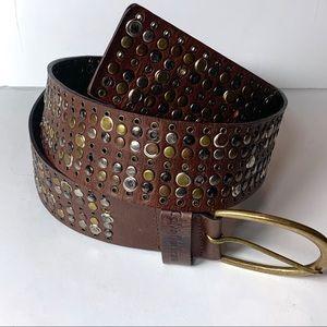 Calvin Klein Leather Studded Wide Belt size xl